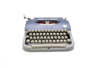 Machine à écrire Japy Script bleue et grise révisée ruban neuf