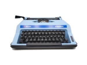 Machine à écrire Rover Primavera Bleue pastel révisée ruban neuf