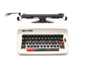 Machine à écrire Hermes 305 Blanche révisée ruban neuf