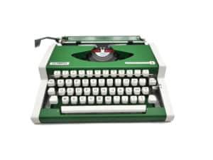 Machine à écrire Olympia Traveller de Luxe Vert anglais révisée ruban neuf
