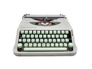 Machine à écrire Hermes Baby Rocket Verte Tilleul Vintage révisée ruban neuf
