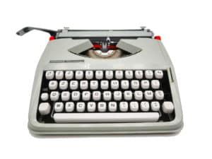 Machine à écrire Hermes Baby Bleu Pastel révisée ruban neuf #customisée