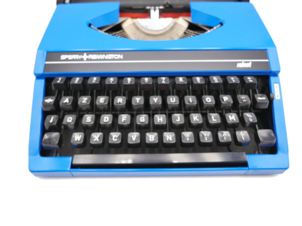 Machine à écrire Sperry Remington Select Bleu profond révisée ruban neuf #iconic