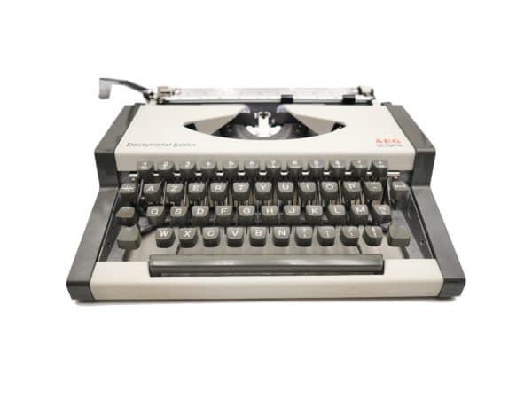 Machine à écrire Olympia AEG Dactymétal grise révisée ruban neuf