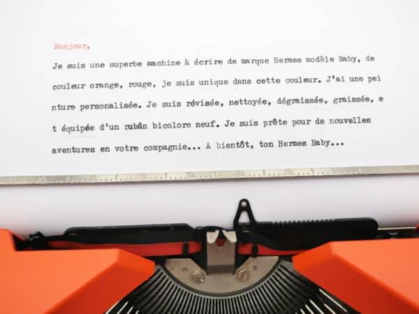 Machine à écrire Hermes Baby rouge orange révisée ruban neuf