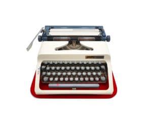 Machine à écrire vintage Japy P 941 Blanche et bleue révisée ruban neuf